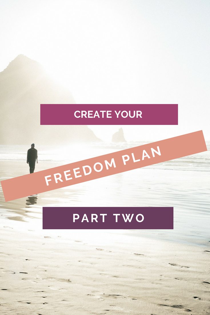 Create Your Freedom Plan Part 2 pinterest image, background sunny beach scene