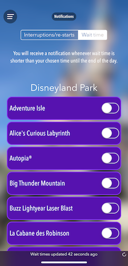 How To Plan For The Best Disneyland Paris Trip Ever, notifications page in the MagiPark app