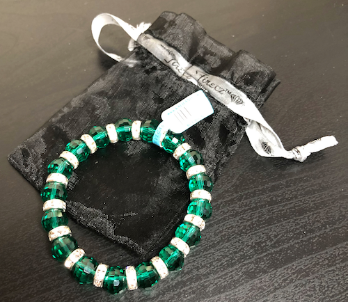 My 2018 Advent Calendar, my green glass bead bracelet.