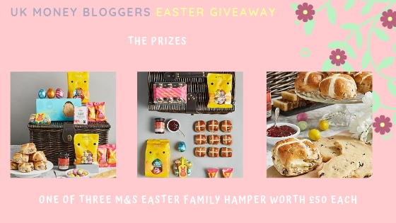 Easter prize giveaway picture of the 3 types of hamper on offer