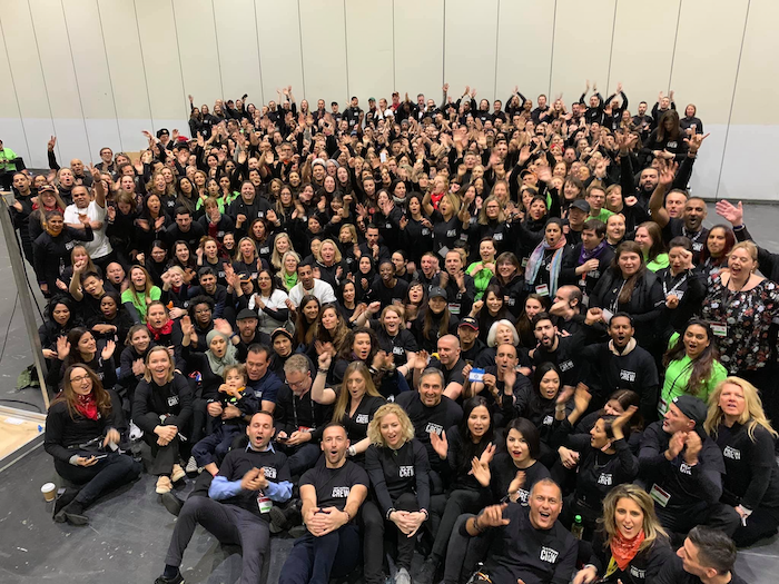 February to April Income and Profit Report, Corinna in a pic of all the crew at UPW London 2019