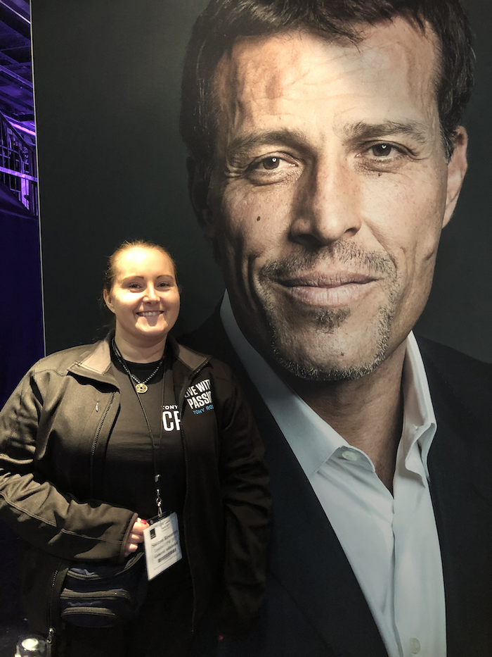 February to April Income and Profit Report, Corinna next to a picture of Tony Robbins