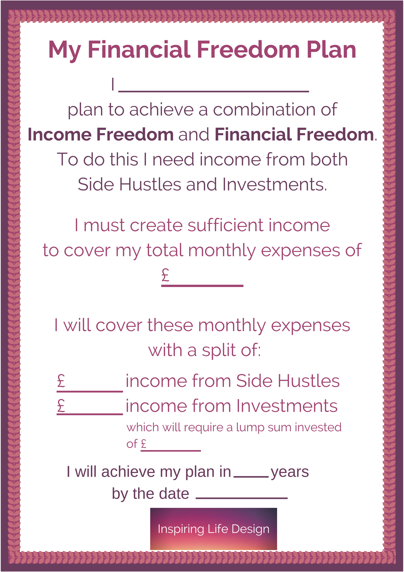 Printable For Wall For Combination Financial and Income Freedom Plan