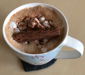 September 2018 Income & Profit Report update, hot chocolate with whipped cream, marshmallows and flake