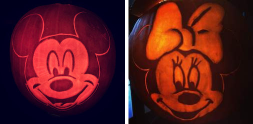 October 2018 Income & Profit Report, pumpkin carving of Mickey & Minnie Mouse